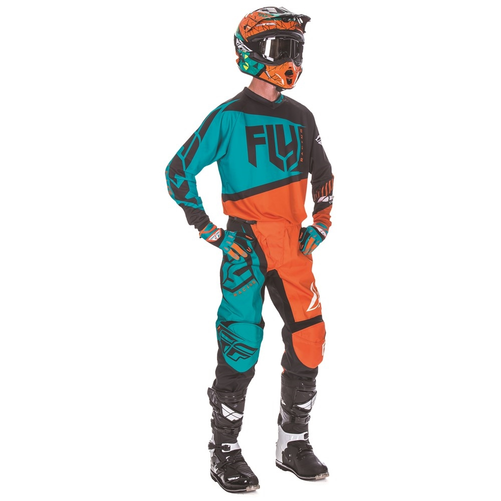 FLY - 2017 F-16 комплект штаны и джерси, оранжево-голубой