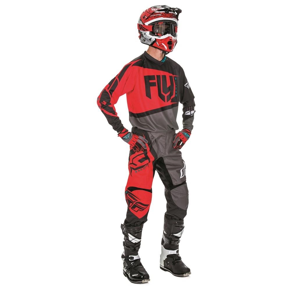FLY - 2017 F-16 комплект штаны и джерси, красно-черно-серый