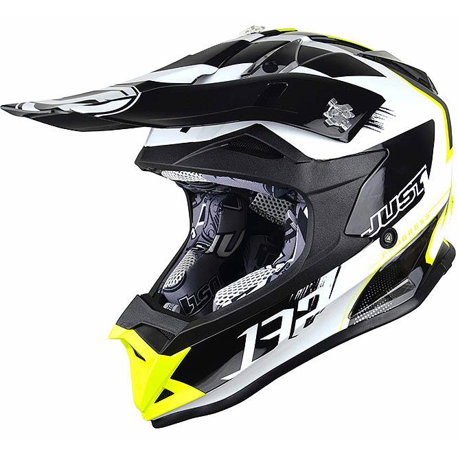 Just1 - J32 Pro Kick White/Yellow/Black шлем, бело-жёлто-чёрный